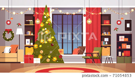 living room with decorated fir tree and garlands for new year christmas holidays celebration concept 71054853