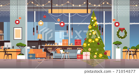 living room with decorated fir tree and garlands for new year christmas holidays celebration concept 71054877