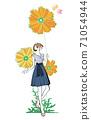 一名婦女的例證有一朵花的穿禮服 71054944