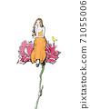 一個女人和一隻小鳥坐在一朵花的插圖 71055006
