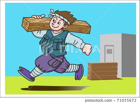 목재를 메고 달리는 작업복 차림의 목수 71055672