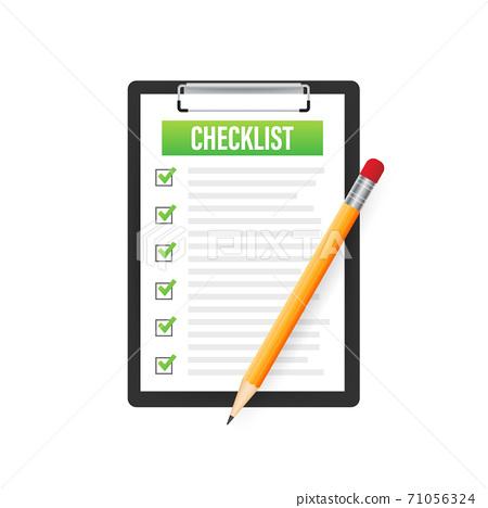 Clipboard with checklist icon. Clipboard with checklist icon for web. Vector illustration. 71056324