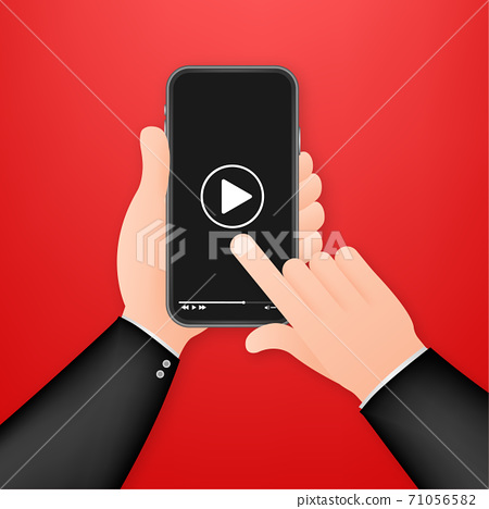 Video smartphone, great design for any purposes. Live video streaming. Web design. Digital device. Vector stock illustration. 71056582