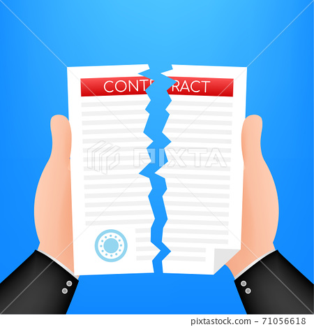 Businessman hands tearing apart contract document. Vector illustration. 71056618