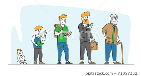 Male Character Life Cycle, Growth and Aging Process, Age Generation Concept. Happy People Baby, Kid, Teenager and Adult 71057332