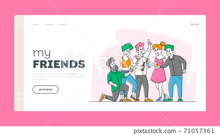 Friends Party with Drinks, Friendship Landing Page Template. Cheerful Young People Rejoice Laugh and Drinking Cocktails 71057361