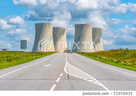 Nuclear power plant and wide asphalt road. Temelin, Czech Republic 71058035