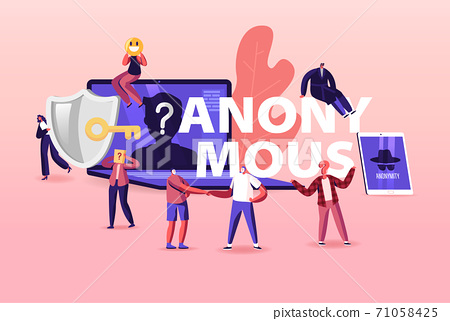 Online Anonymous Concept. Tiny Characters at Huge Devices with Unrecognizable Profile. Internet Information Privacy 71058425