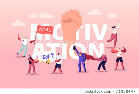 Motivation and Aspiration Concept. Characters Overcome Obstacles, Goal Achievement, Take New Heights. Inner Resources 71058447