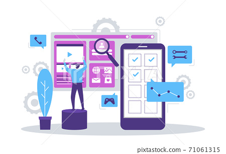 People Build Mobile App Development Process Flat Design Illustration 71061315
