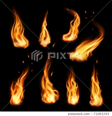 Fire, vector campfire, isolated torch flame set 71063293