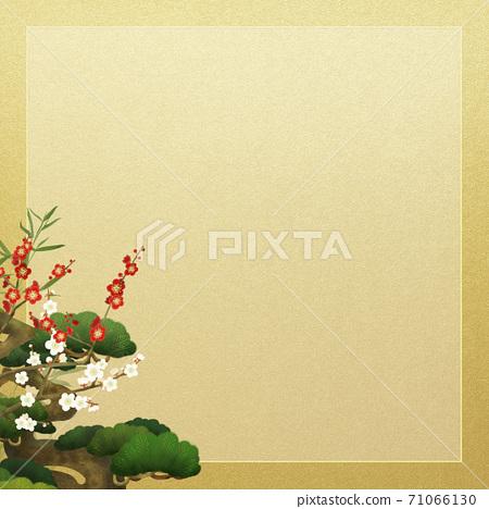 松竹和金箔的日式框架-有多種變體 71066130