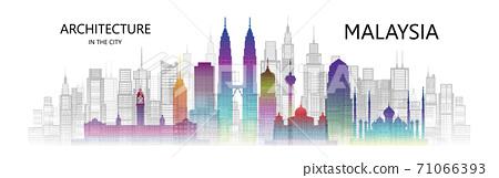 Modern architecture cityscape skyscraper Malaysia of asia colorful art. 71066393