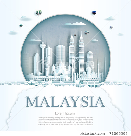Travel Malaysia monument in Kuala Lumpur city modern building in circle. 71066395