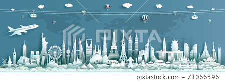 Travel landmarks architecture world with turquoise background. 71066396