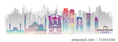 Modern architecture skyscrapers in Jordan with halftone colorful of Asia. 71066398