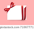 Paper card with red bow ribbon 71067771
