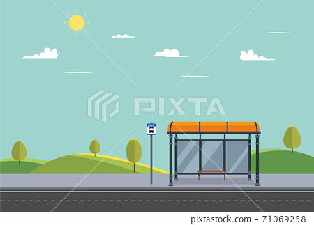 Bus stop on main street city.Public park with bench and bus stop with nature landscape.Public road in summer.Vector illustration. 71069258