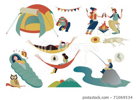 캠프 활동을 즐기는 사람들의 집합 71069534