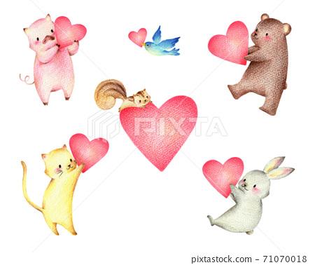套著心的動物手繪彩色鉛筆素描 71070018
