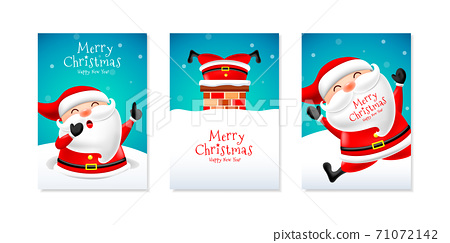 Christmas card set with cute santa claus. 71072142