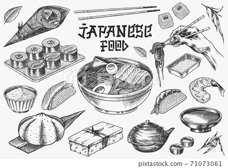 Japanese food set. Sushi bar, ramen noodles, soup in a bowl, roll and dessert, Asian tea. Soy sauce 71073061
