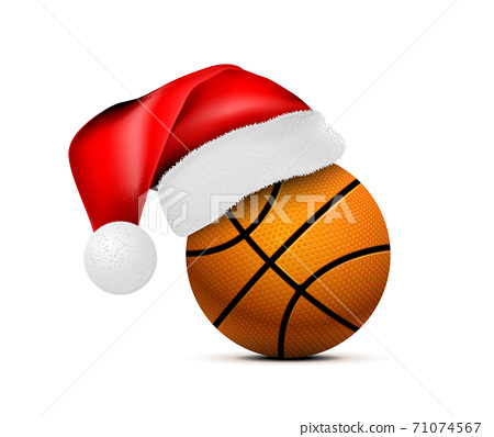 Basketball ball with Santa Claus hat. Vector illustration isolated on white background 71074567