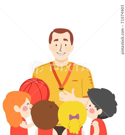 Kids Girls Boys Basketball Coach Talk Illustration 71074905