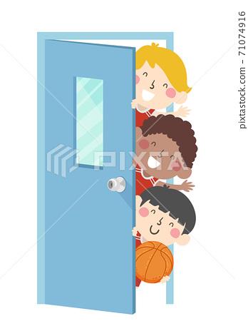 Kids Boys Basketball Team Peek Door Illustration 71074916