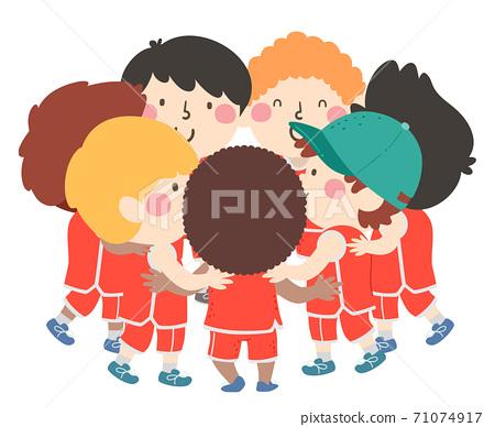 Kids Boys Basketball Hug Huddle Illustration 71074917