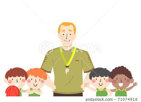 Kids Boys Basketball Team Coach Illustration 71074918