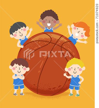 Kids Boys Basketball Team Big Ball Illustration 71074920