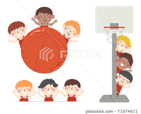 Kids Boys Basketball Team Borders Illustration 71074921