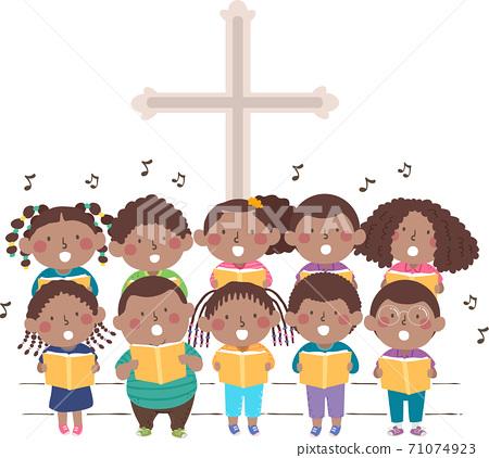 Kids Black Church Stage Sing Choir Illustration 71074923