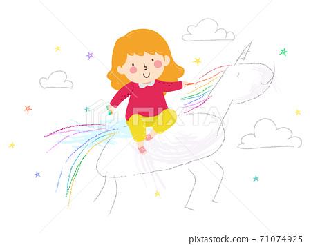 Kid Girl Scribble Unicorn Fantasy Illustration 71074925