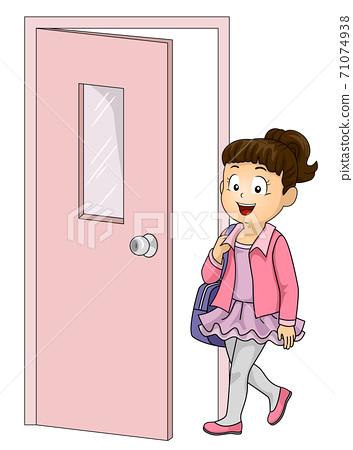 Kid Girl Ballet Class Door Illustration 71074938