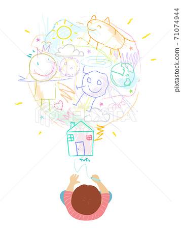 Kid Boy Scribble Ideas Light Bulb Illustration 71074944