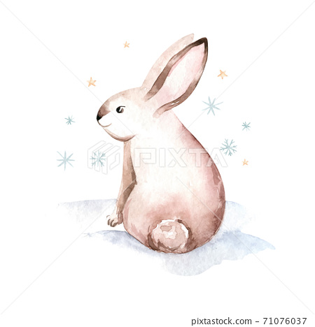 Christmas rabbits. Hand drawn sketch and watercolor illustrations 71076037