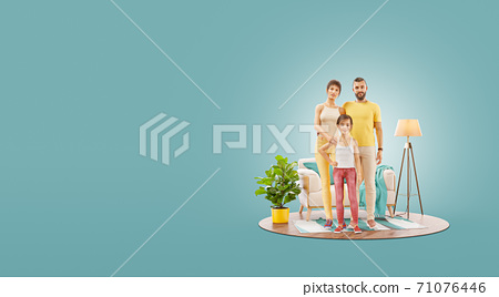 Unusual 3d illustration of a Happy family enjoying a new home. 71076446