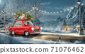 Santa claus in Cute car with decorated christmas tree on top goes by wonderful countryside road. 71076462