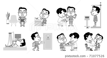 Health checkup Test content Middle-aged male illustration Monotone 71077526