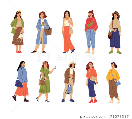 People wear casual clothes. Beautiful girl, fashion stylish female characters. Isolated young women spring autumn trendy outfit vector set 71078517