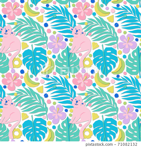 Seamless pattern in applique style with tropical palm leaves, fruits, flowers and monkeys 71082132