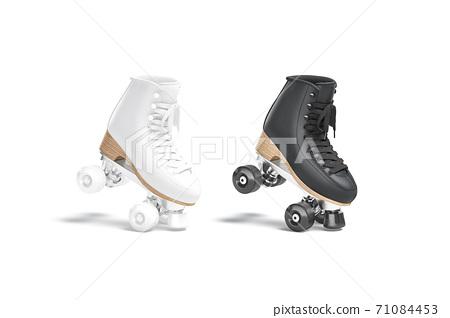 Blank black and white roller skates mockup stand on tiptoe 71084453
