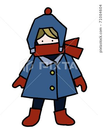 눈이 쌓인 날에 따뜻한 코트와 머플러, 모자를 착용 밖에있는 소년의 손 일러스트 71084604