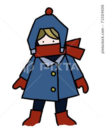 눈이 쌓인 날에 따뜻한 코트와 머플러, 모자를 착용 밖에있는 소년의 손 그림 (적설 느낌 있음) 71084606