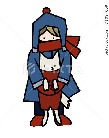 눈이 쌓인 날에 개를 안아 올리는 소년의 손 그림 (적설 느낌 있음) 71084609