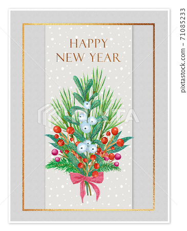 New year card template. Illustration winter bouquet with bow, red berries, mistletoe and spruce branches 71085233