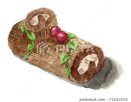 聖誕蛋糕布什·多諾埃爾畫水彩 71087050