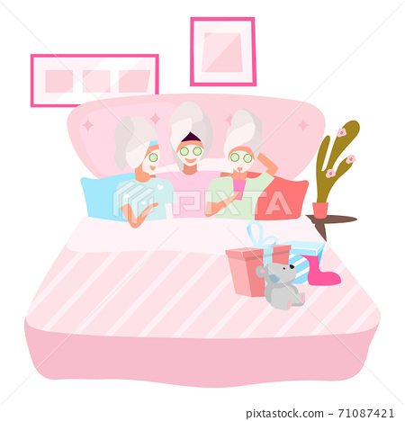 Girlfriends applying facial masks flat vector illustration. Slumber, sleepover party concept. Female best friends sleeping together in pajamas cartoon characters. Young women, teenagers, students 71087421